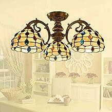 jardín de estilo europeo del arte de Tiffany tres restaurante mesa de comedor de la cáscara natural estudio iluminación de la lámpara de techo