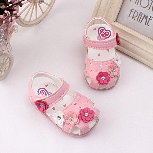 Bild von Amlaiworld Babyschuhe, Kleinkind Neue Blumen Mädchen Sandalen Beleuchtet Weichen Sohlen Prinzessin Baby Schuhe (18, Rosa)