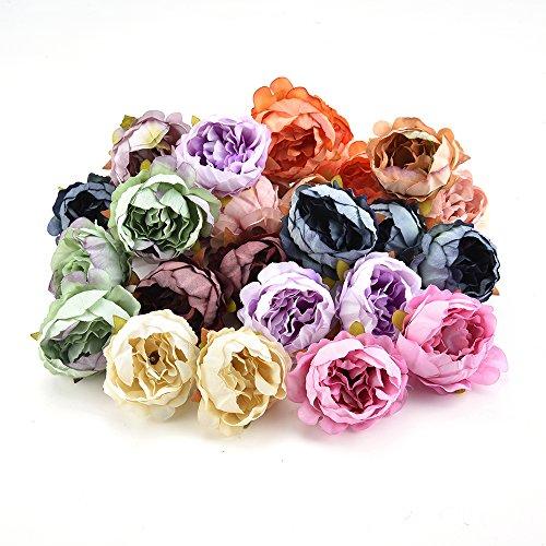 Azxu - teste di peonia, fiori finti, in seta, decorazione per la casa, fai da te, per ghirlande, scrapbook, confezioni regalo, matrimoni, 15 pezzi/lotto, 5 cm multicolore