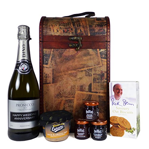 'Happy Wedding Anniversary' Prosecco and Food Gift Hamper Presented in a Clarendon Vintage Style Wine Carrier - Gift Ideas for Wedding Anniversary.