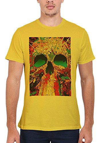 Skull Skeleton Art Drawing Retro Men Women Damen Herren Unisex Top T Shirt Licht Gelb