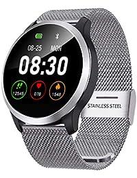 QKa Smart Watch mit Blutdruck-Herzfrequenzmessgerät und EKG-Wiedergabediagramm, einstellbare Helligkeit Edelstahl-Armband Smartwatch IP68