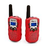 2x Walkie Talkies Set Kinder Funkgeräte 3KM Reichweite 8 Kanäle mit Taschenlampe Walki Talki Kinder (rot)