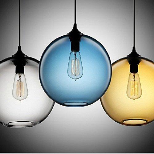 Moderne Pendelleuchte klar die Kugel Glas LOFT Wohnzimmer Lampe das Restaurant Cafe shop Deko Leuchte LED, braun, 25 cm (Glas-pendelleuchte-lampen-farbtöne)