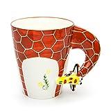 Hausmann & Söhne Tasse groß, weiß, lustig mit Tier Motiv in 3D Giraffe | 350ml (400ml randvoll) | Kaffeetasse/Teetasse aus Keramik (Porzellan) | die perfekte Geschenk-Idee