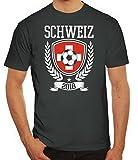 Swiss Fußball WM Fanfest Gruppen Fan Herren Männer T-Shirt Rundhals Pokal Schweiz 2018, Größe: S,Darkgrey