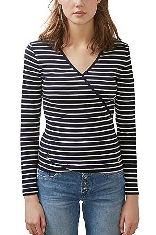 edc by ESPRIT Women's 027cc1k023 Long Sleeve Top, Blue (Navy),