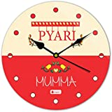 Gift For Mom Mothers Day Gift For Mother Indibni Pyari Mumma Beautiful Round Wall Clock 11 - Red - House Warming Gift For Mom Mother On Her Birthday Anniversary Mothers Day Special Day Home Decor