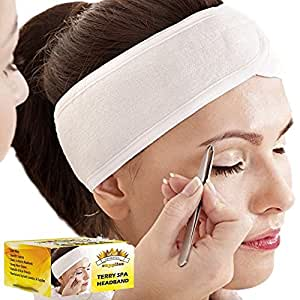 (3 Count) White Elastic Terry Cloth Spa Headband - Single Velcro Closure Stretch Towel Washable Makeup Headbands Fits All Head Sizes (4 Inch Wide X 25 Inch Long, When Stretched)
