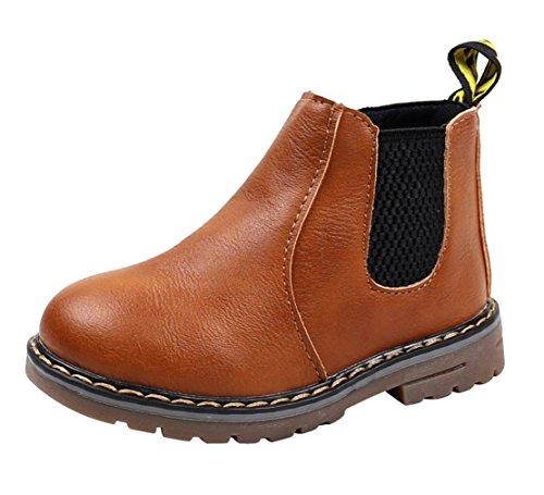 Eozy Boots Fille Antidérapant Bottine en Velours Épais PU Cuir à Zip Chaussure