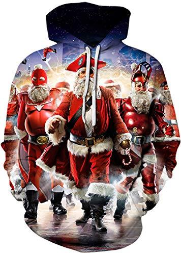EUDOLAH Damen Pullover Pulli Halloween Weihnachten Kostüme 3D Druck Dunkelheit Terror Unisex Mehrfarbige mit Aufdruck Digitaldruck Weihnachtsmann ()