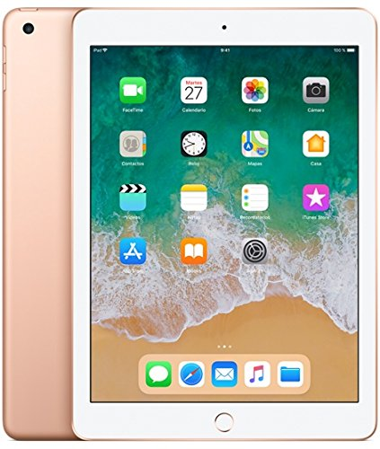 Apple Ipad - Tableta de  6° Generación (24.6 cm (9.7 '), 2048 x 1536 píxeles, 32 GB, iOS 11, 469 g, Dorado)