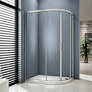 Aica 900x800mm Quadrant Shower Enclosure Double Sliding Door 6mm Glass Walk in Cubicle+Right Tray, Matt Silver, 900 x 800 mm