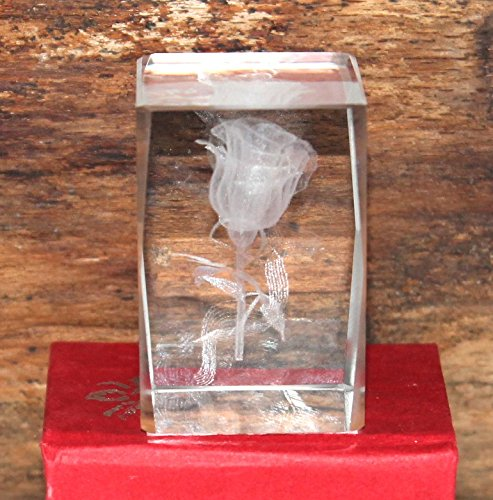 Kristall 3 D Laserquader Glasblock Rose klein 4,5 x 2,8 cm Nr. 02 - 261 Rose