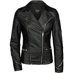 TRISENS Mujer Chaqueta de cuero Biker corta Moto Chaqueta de cuero PU Negro Plata negro L