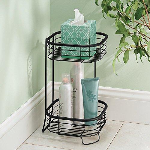 mDesign Estantería baño - Mueble esquinero para la ducha de acero inoxidable con dos sistemas de almacenamiento - Perfecto como toallero - Color: negro mate
