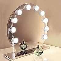 Lampe pour Miroir,UNIFUN Hollywood Kit de Lumières de Miroir USB Powered 10 Ampoule LED éclairage de Maquillage Miroir Lumineux/Lumineuses Éclairage de salle de bain 7000K pour Maquillage Coiffeuse Cosmétique Vestiaire Armoire Salle de Bain,Miroir Non Inclus