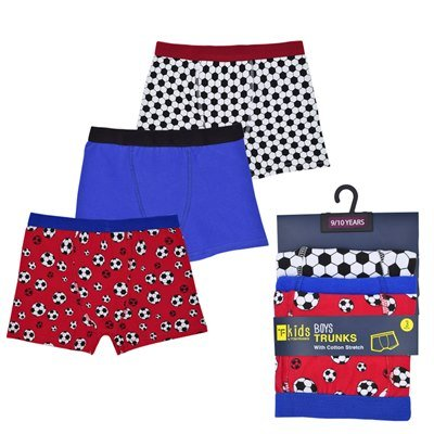R J M 3 Pairs of Boys Football Design Boxer Shorts Briefs Underwear