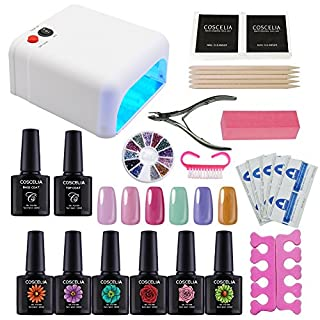 Coscelia Nail Starter Kit Soak Off Gel Polish 10ml + Top Base Coat Set + 36W UV Lamp +Manicure Tools