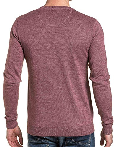 Legenders - Pull fin homme bordeau col rond Rouge