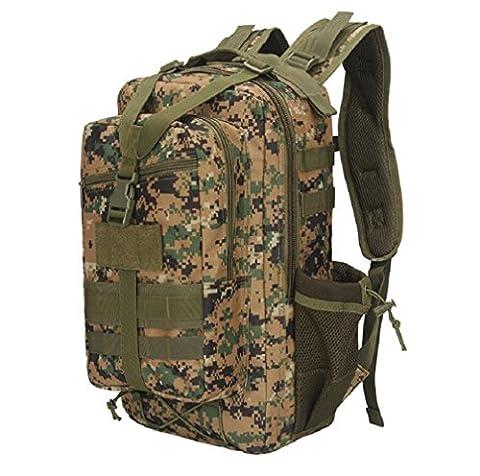 ZC&J 20-35L capacité de voyage en plein air sac à bandoulière, camouflage matériel tactique camping randonnée sac à dos, Oxford tissu étanche à l'eau anti-déchirure solide sac à bandoulière réglable durable,D,20-35L
