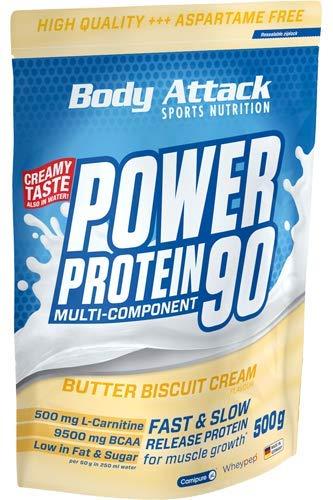 Body Attack Power Protein 90, Butter Biscuit Cream, 500g
