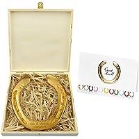 Vergoldetes Hufeisen mit Gravur / Holzbox / original Hufeisen vom Pferd - Glückshufeisen - Hochzeitsgeschenk - Geschenk zur Goldenen Hochzeit