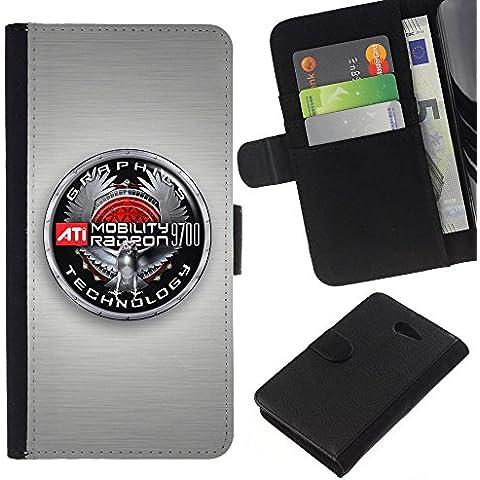 Grafica Badge–Flip carte di credito PU fondina in pelle Custodia protettiva a Portafoglio Cover Sony Xperia M2