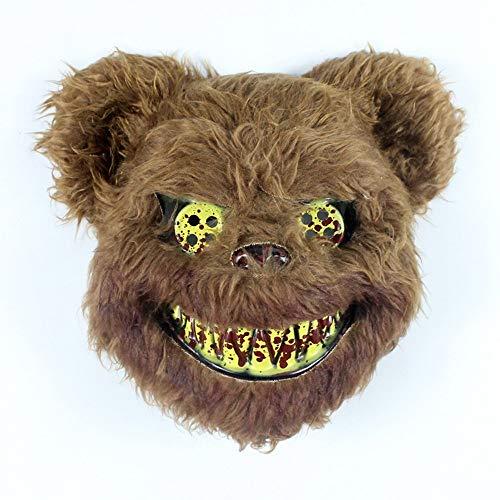 Bear Brown Kostüm - IENPAJNEPQN Funny Scary Rabbit Gesichtsmaske Horror Halloween Cosplay Party Maskerade Tier Kostüm Masken (Color : Brown Bear)