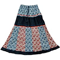 Mogul Interior Bohemian Long Skirt Blue Printed Crinkle Patchwork Gypsy Skirts For Her