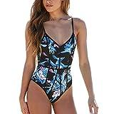 Xuthuly Damen Sexy Einteiler Hohe Taille Skinny Sling Badeanzug Push-Up Gepolsterter BH Print Bade Bademode Overall Beachwear