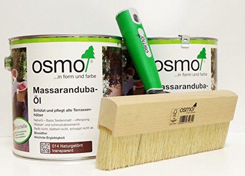 OSMO AB.Bauconcept GbR© Kombiangebot Massaranduba-Öl 014 5 Liter Fußbodenstreichbürste 220 mm