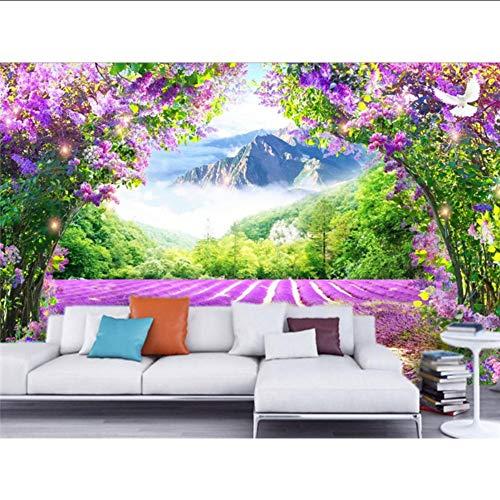 Preisvergleich Produktbild Xbwy Benutzerdefinierte Fototapete Wandbild Frische Lavendel Blume Vine Arch 3D Tv Hintergrund Tapeten Wohnkultur-350X250Cm