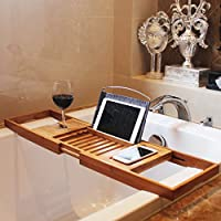 Bamboo Bathtub Caddy Tray Extendable Luxury Spa Organizer with Folding Sides | Natural, Ecofriendly Wood | Integrated Tablet, Smartphone, Wine, Book Holders