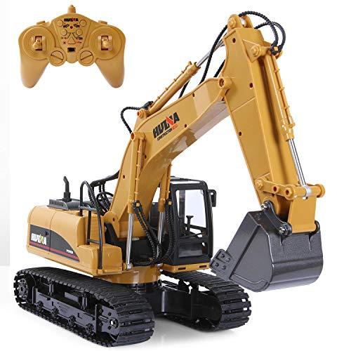 SGILE 15 Canales Completamente Funcional RC Excavadora, 1:14 Control Remoto Excavator Construction Tractor con 2.4Ghz Transmitter, Luces y Sonido, Pala de Metal,Regalo para Niños