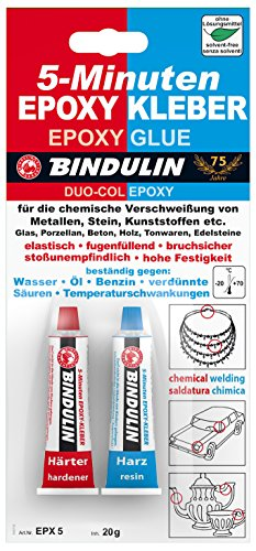 5minuti Epoxy colla 20G Bindulin. klebt in 5minuti trasparente vetro porcellana Cemento legno ton la gemma. Un molto veloce aushärtender, adesivo lösungsmittelfreier a 2componenti, per la connessione di molti sostanze