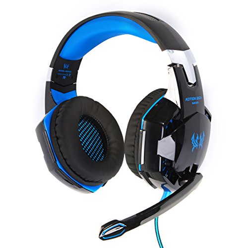 EACH G2000 Gioco Cuffia auricolare Gaming Headphone Headset Earphone con Mic Stereo Bass LED luce Per PC Laptop (colore: nero + blu) TH092
