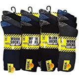 12 Pairs Men's Hard Wearing Heavy Duty Work Socks - Safety Thermal Boot Socks Reinforced Heel & Toe - Warmth and Comfort [Sho