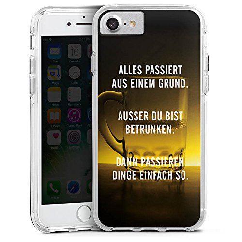 Apple iPhone 8 Bumper Hülle Bumper Case Glitzer Hülle Party Feiern Phrases Bumper Case transparent