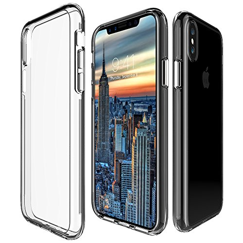 iPhone X Case, Dual Layer Case Soundmae Heavy Duty Protective Silicone Plastic Cover Rugged Case Full Body Protection Shockproof Impact Resistant Defender Case for Apple iPhone X 2017 Release, Blue Clear