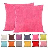 Comoco -2pcs Solid color Small Corn Striped corduroy cuscino decorativo per divano, disponibile in 15colori e 7dimensioni, Hot Pink, 65 x 65 cm