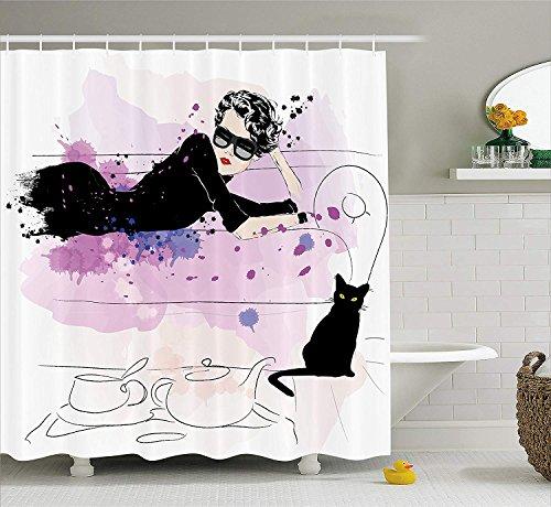 CHUNHUA Fashion House Decor Duschvorhang Mädchen mit Sonnenbrille Liegen auf Couch Cat Elegance im Home Theme mit Stains Fabric Bathroom Decor Set mit Haken Schwarz