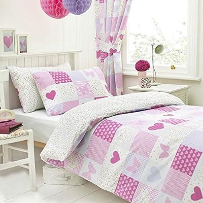Patchwork Pink Butterfly Hearts Polka Dot Duvet Quilt Cover Bedding Duvet Set - cheap UK light store.