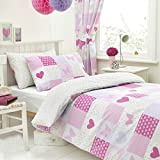 Textile Warehouse Patchwork Pink Butterfly Hearts Girls Kids Childrens Duvet Quilt Cover Bedding Set Single