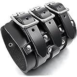 MunkiMix Breite Metalllegierung Legierung Leder Echtleder Armband Armreifen Manschette Silber Schwarz Punk Rock Motorradfahrer Biker Herren