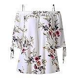 VEMOW Sommer Neue Mode Elegante Damen Mädchen Frauen Plus Größe Blumendruck Slash Neck Kalte Schulter Hailf Sleeve Bluse Casual Tops Camis Pullover Tees (Weiß, EU-44/CN-XL)