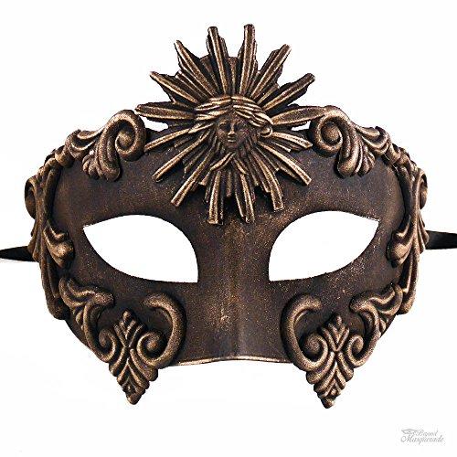 masqueradeparty romanos Dios Sol veneciano máscaras máscara Hombre, Vintage Oro
