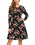 Parabler Damen Kleid Vintage Blumen Jerseykleid mit Falten Langarm Strandkleid Knielang Rockabilly Swing Freizeitkleid A-Linie Elegant Schwarz L