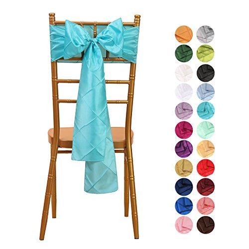 veeyoo 5x 15,2x 274,3cm Pintuck Stuhl, Schärpen Band Bögen Cover für Hochzeit Party Dekoration Weiß, Textil, türkis, Einheitsgröße (Band Pintuck)