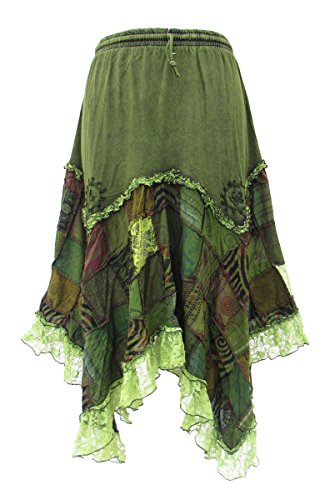 ittelalter Witchy Psy Ethno Patchwork Zipfel Rock 36 38 40 42 44 46 48 50, Farbe:grün, Größe:XXL ()